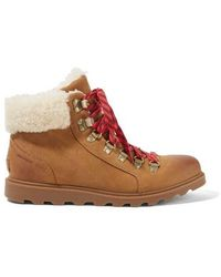 Sorel Ainsley Conquest Shearling-trimmed Waterproof Leather Ankle Boots - Brown