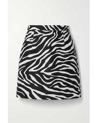 Michael Kors Wool And Silk-blend Zebra-jacquard Mini Skirt - Black