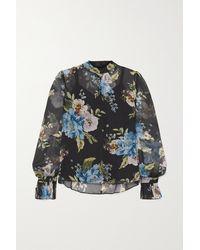 Erdem - Barnaby Floral-print Silk-voile Blouse - Lyst