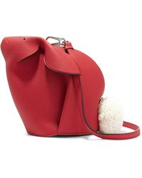 Loewe - Bunny Mini Shearling-trimmed Textured-leather Shoulder Bag Red One Size - Lyst