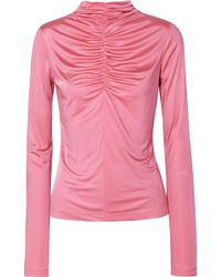 Cedric Charlier - Ruched Satin-jersey Top - Lyst