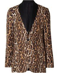 R13 Oversized Satin-trimmed Leopard-print Cotton-blend Crepe Blazer - Brown