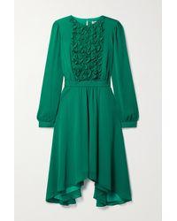Jason Wu Asymmetrisches Kleid Aus Chiffon Mit Rüschen - Grün