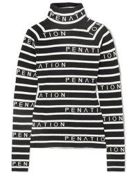 P.E Nation + Woolmark Cutline Striped Intarsia Wool-blend Sweater - Black