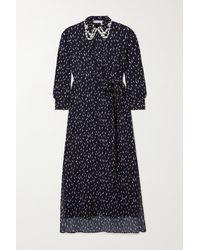 Chloé Floral-print Crepe De Chine Midi Dress - Blue