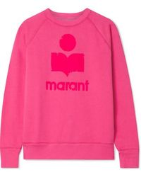 Étoile Isabel Marant Milly Flocked Cotton-blend Jersey Sweatshirt - Pink