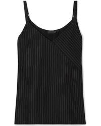 ATM - Wrap-effect Pinstriped Crepe Camisole - Lyst