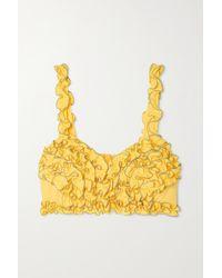 Loretta Caponi Nora Ruffled Shirred Cotton-piqué Top - Yellow