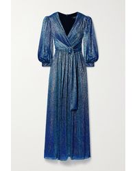 PATBO Crystal-embellished Gathered Metallic Lamé Gown - Blue