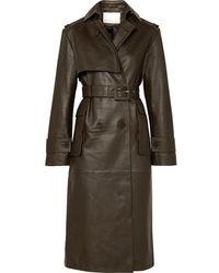 REMAIN Birger Christensen Pirello Belted Leather Trench Coat - Green