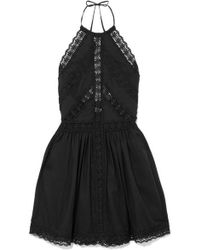 Charo Ruiz Crocheted Lace-paneled Cotton-blend Mini Dress - Black