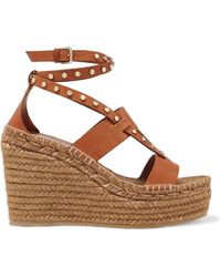 Jimmy Choo - Denise 110 Studded Leather Espadrille Wedge Sandals - Lyst