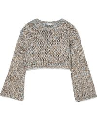Brunello Cucinelli - Cropped Open-knit Jumper - Lyst