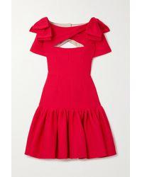 Emilia Wickstead Bow-detailed Cutout Cloqué Mini Dress - Red