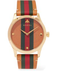Gucci - G-timeless Striped Leather And Gold-tone Watch - Lyst
