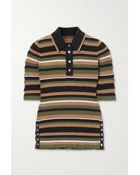 Adam Lippes - Striped Crinkled Cotton-blend Sweater - Lyst