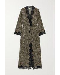 Loretta Caponi Greta Lace-trimmed Leopard-print Silk-georgette Robe - Metallic