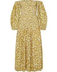 RHODE Harper Smocked Floral-print Cotton-gauze Midi Dress - Yellow