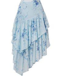 LoveShackFancy Rowan Asymmetric Tiered Floral-print Silk-georgette Skirt - Blue