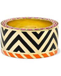 Alice Cicolini - Memphis Chevron 14-karat Gold, Ruby And Enamel Ring - Lyst