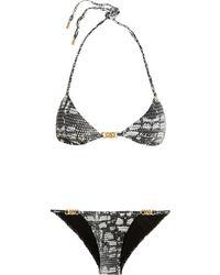 Calvin Klein - Snake-print Triangle Bikini - Lyst