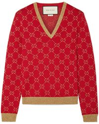 Gucci - Metallic Cotton-blend Jacquard Sweater - Lyst
