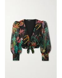 PATBO Oasis Cropped Tie-front Printed Chiffon Blouse - Black
