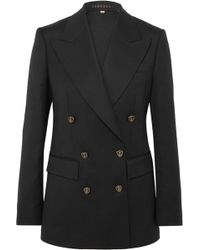 Burberry - Wool And Silk-blend Double-breasted Blazer - Lyst