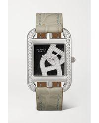 Hermès Montre En Acier Inoxydable Et Diamants À Bracelet En Alligator Cape Cod Small, 23 Mm - Métallisé