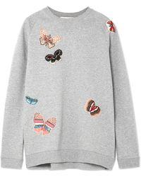 Valentino - Appliquéd Cotton-jersey Sweatshirt - Lyst