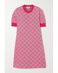 Gucci GG Wool And Cotton Piqué Minidress - Pink