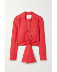 Mara Hoffman + Net Sustain Catalina Tie-front And Linen-blend Jacket - Red
