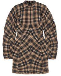 Ganni Ruched Checked Cotton-blend Mini Dress - Natural