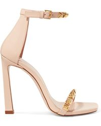 Stuart Weitzman - Rosist 100 Studded Glossed-leather Sandals - Lyst