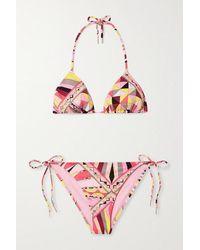Emilio Pucci - Bikini Triangle Dos Nu Imprimé - Lyst