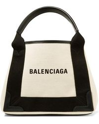 Balenciaga - Leather-trimmed Logo-print Canvas Tote - Lyst