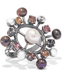 Bottega Veneta - Oxidized Silver, Crystal And Pearl Ring Silver 15 - Lyst