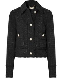 MICHAEL Michael Kors - Cropped Frayed Metallic Wool-blend Tweed Jacket - Lyst