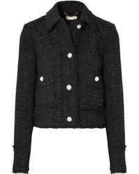 MICHAEL Michael Kors - Cropped Frayed Metallic Wool-blend Tweed Jacket - Lyst