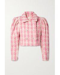 LoveShackFancy Mews Verkürzte Jacke Aus Kariertem Tweed Aus Einer Wollmischung - Pink