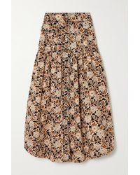 Ulla Johnson Briony Floral-print Denim Midi Skirt - Brown