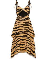 Proenza Schouler - Tiered Tiger-print Crepe Maxi Dress - Lyst