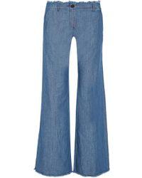 MICHAEL Michael Kors - Frayed High-rise Wide-leg Jeans - Lyst