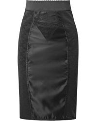 Dolce & Gabbana - Satin And Cotton-blend Lace Skirt - Lyst