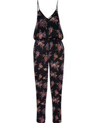 Mes Demoiselles - - Flip Printed Silk-crepe Jumpsuit - Black - Lyst