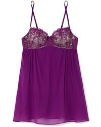 I.D Sarrieri Embroidered Silk-blend Tulle And Chiffon Underwired Chemise - Purple