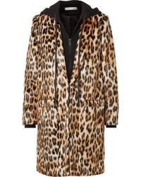 Alice + Olivia - Kylie Leopard-print Faux Fur And Cotton-jersey Coat - Lyst