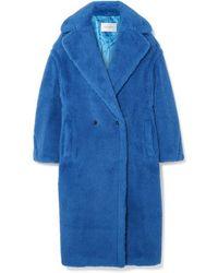Max Mara Alpaca-silk Teddy Knit Coat Blue