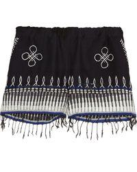 lemlem - Wubit Fringed Embroidered Cotton-blend Shorts - Lyst