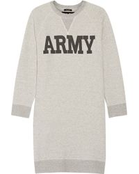 NLST - - Printed Cotton-blend Terry Mini Dress - Grey - Lyst